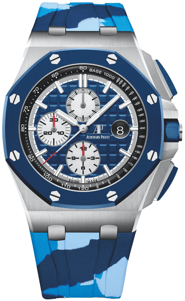 Audemars Piguet Royal Oak Offshore Selfwinding Chronograph/ Stainless Steel/ Camouflage Strap/ Blue Dial/ White Sub-Dials/ Blue Ceramic Bezel (Ref#26400SO.OO.A335CA.01)