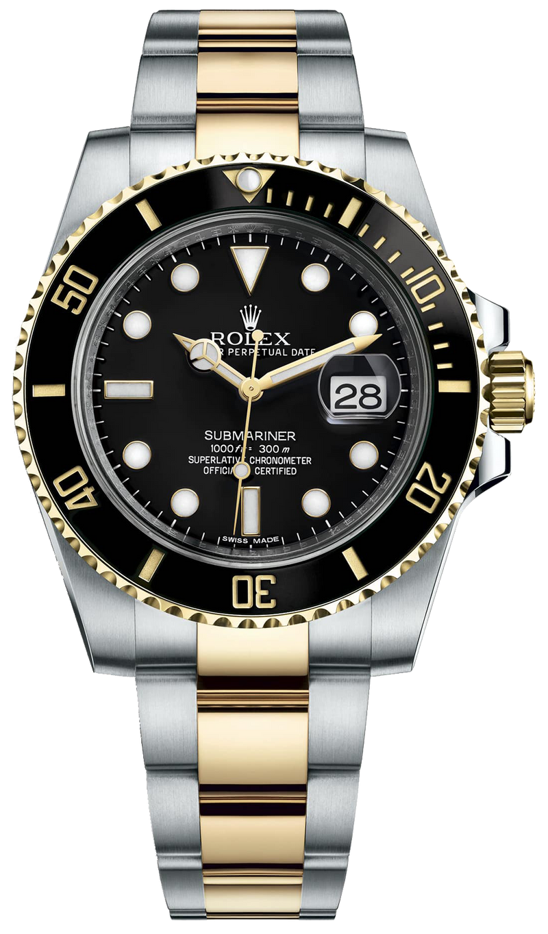 Rolex Submariner Two-Tone Stainless Steel/ Yellow Gold Black Dial Ceramic Bezel (Ref#116613LN)