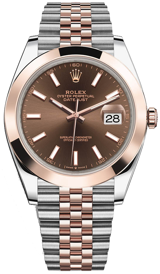 Rolex Datejust 41 Rose Gold & Steel/ Chocolate Index Dial/ Smooth Bezel/ Jubilee Bracelet (Ref#126301)