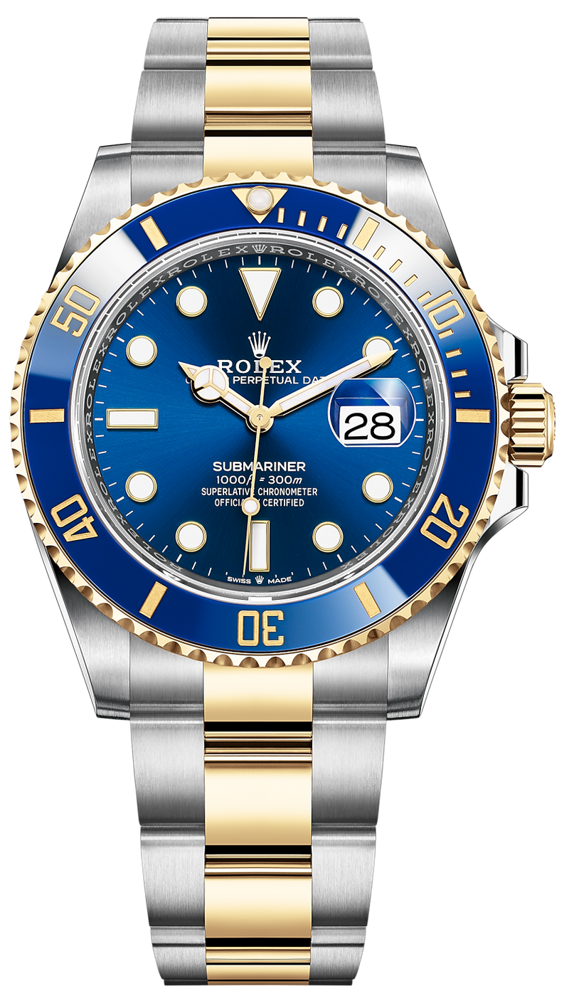 Rolex Submariner Two-Tone Stainless Steel/Yellow Gold Rolesor Blue Dial Ceramic Bezel (Ref#126613LB)