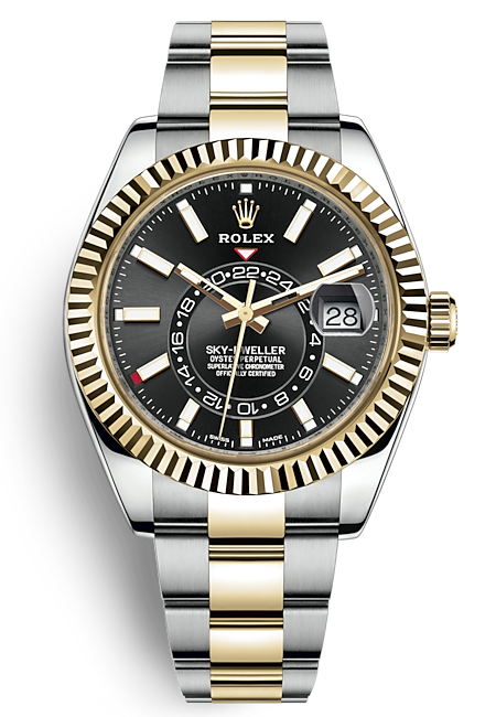 Rolex Sky-Dweller Two-Tone Yellow Gold Black Index Dial (Ref#326933)