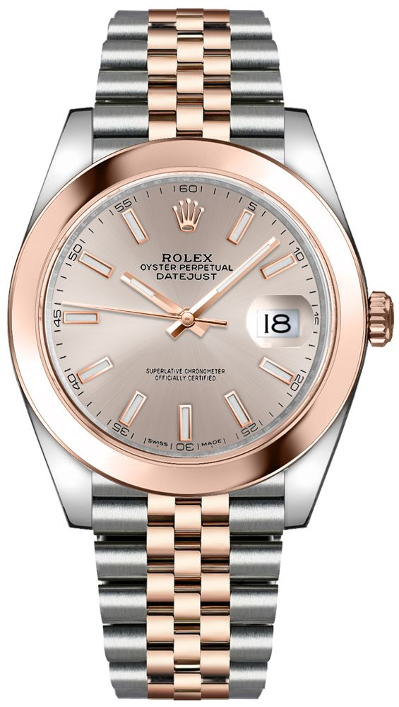 Rolex Datejust 41 Rose Gold & Steel/ Sundust Index Dial/ Smooth Bezel/ Jubilee Bracelet (Ref#126301)
