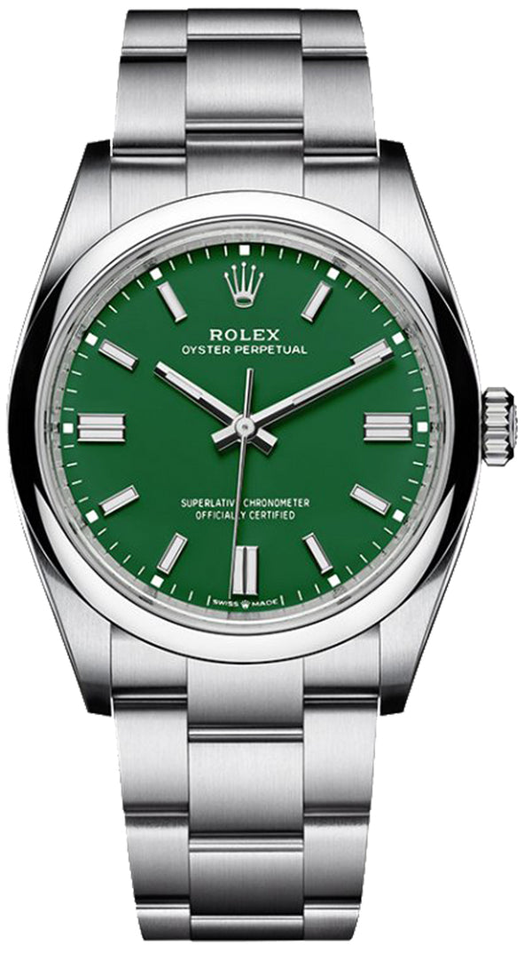 Oyster Perpetual 41 Stainless Steel/ Green Index Dial/ Oyster Bracelet (Ref#124300)