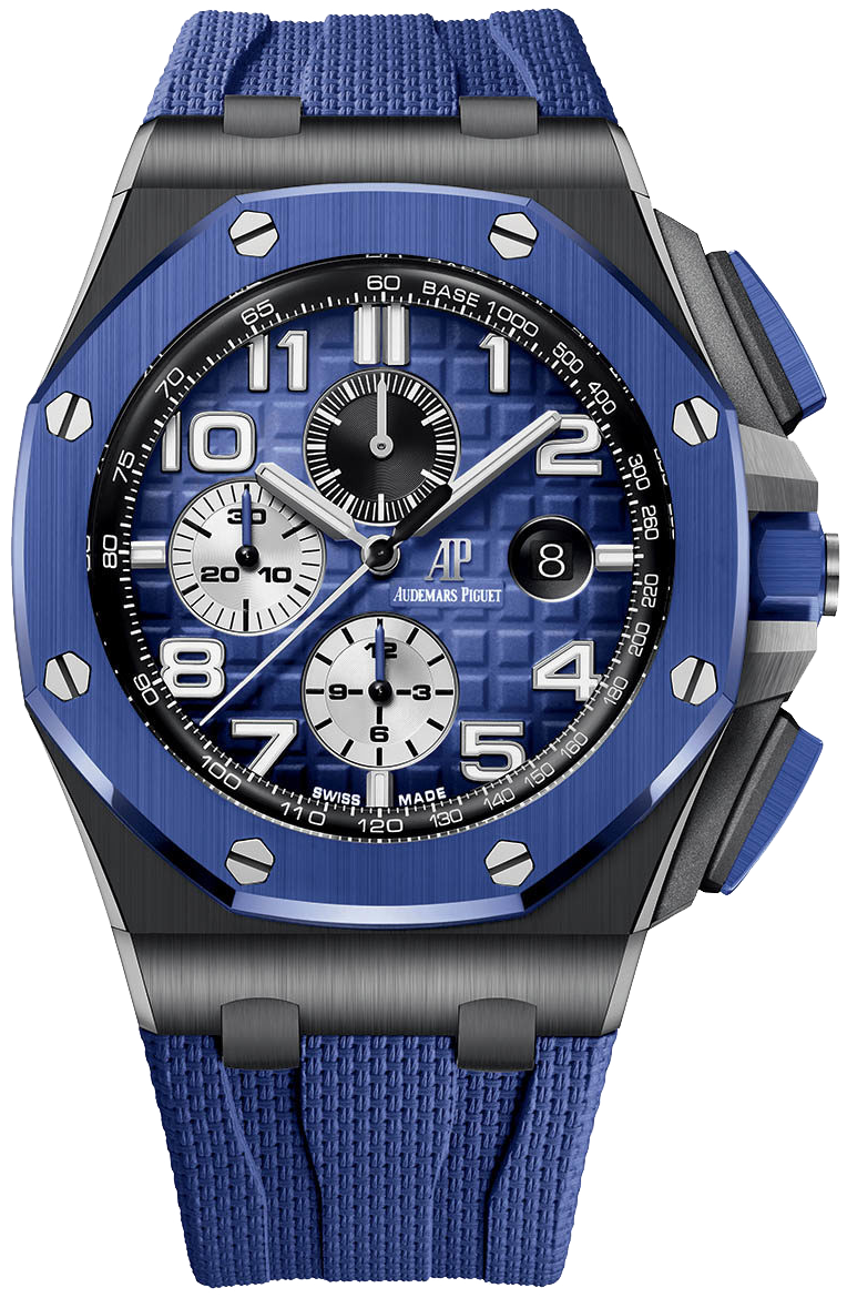 Audemars Piguet Royal Oak Offshore Selfwinding Chronograph Stainless Steel Blue Mega Tapisserie Dial (Ref#26405CE.OO.A030CA.01)