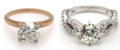 Before and after photos of an old yellow gold solitaire ring redesigned into a white gold engagement ring.