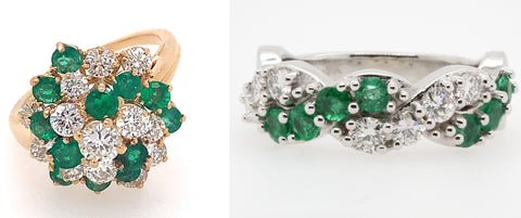 Before and after of a diamond and emerald cluster ring that becomes a criss cross band ring.
