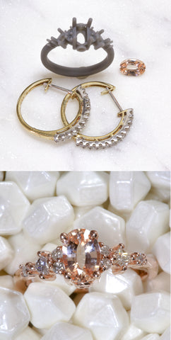 Before and after photo of earrings that were transformed into an engagement ring.