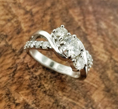14kwg Three Stone Diamond Ring