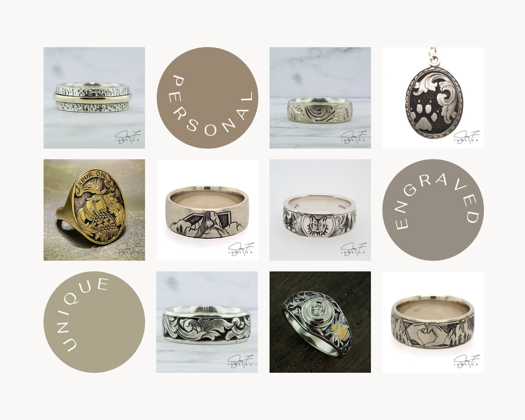Collage of photo examples of hand engraved custom jewelry pieces from Jay F. Jeweler.