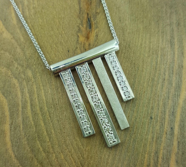 14k White Gold Hanging Chimes Pendant with Diamonds on a Wheat Chain