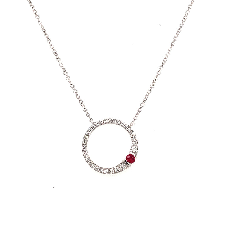 14KW Diamond and Ruby Necklace