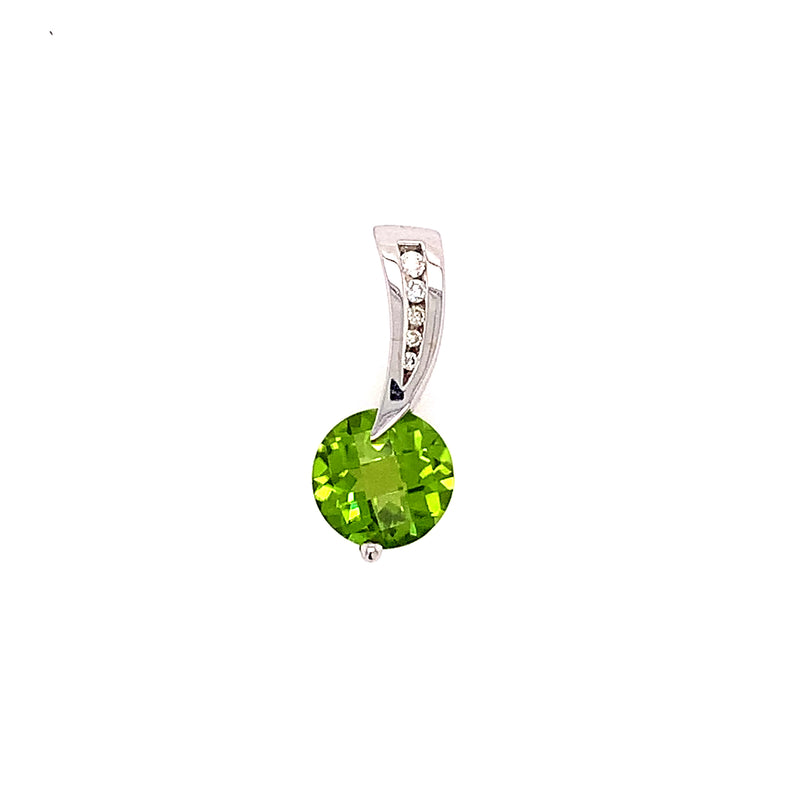 14KW Peridot and Diamond Pendant