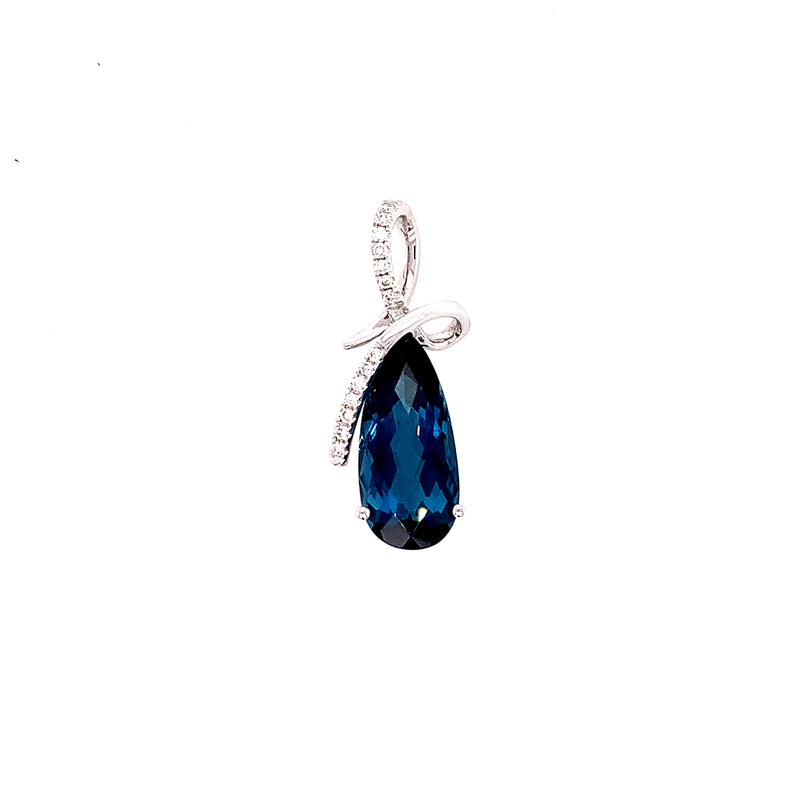 14KW Blue Topaz and Diamond Pendant