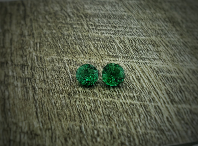 Pair of 1.5ctw Round Emeralds