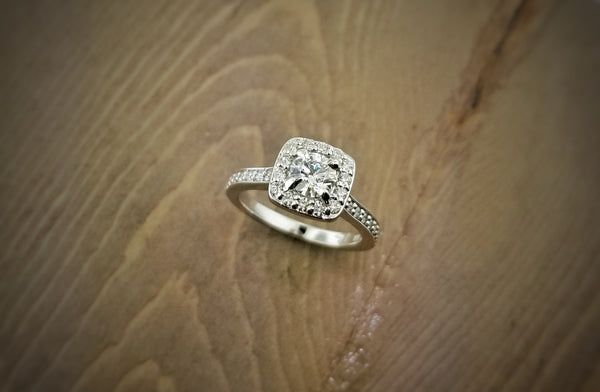 Antique Square Halo Diamond Engagement Ring