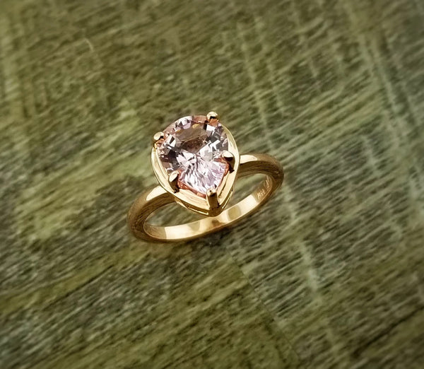 Rose gold ring featuring a pear shaped 1.87ct Morganite center
