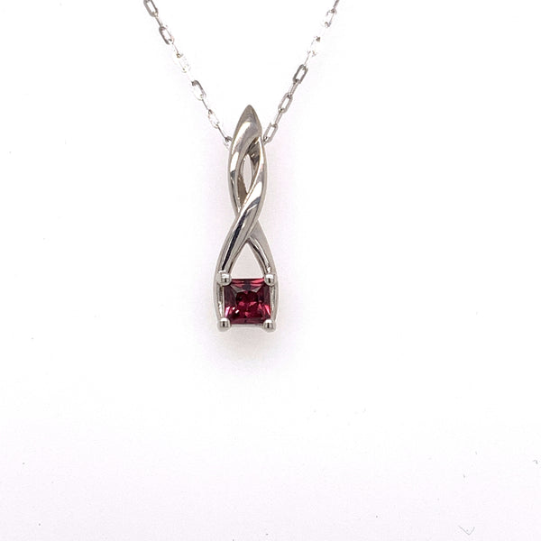 14k white gold twist pendant featuring a 4x4mm square Rhodolite Garnet. Chain not included.