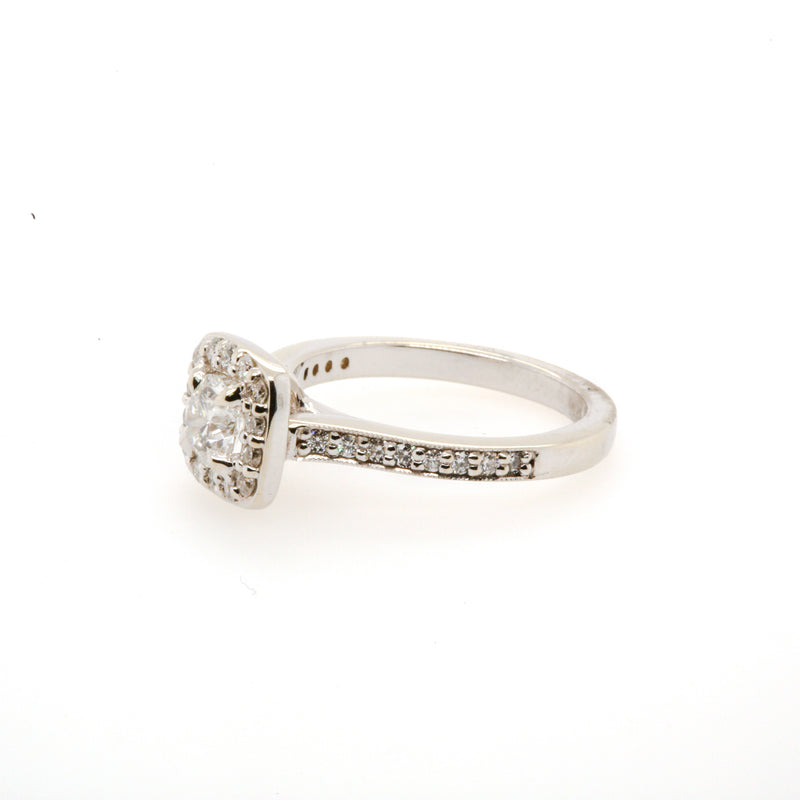14KW Antique Square Halo Engagement Ring