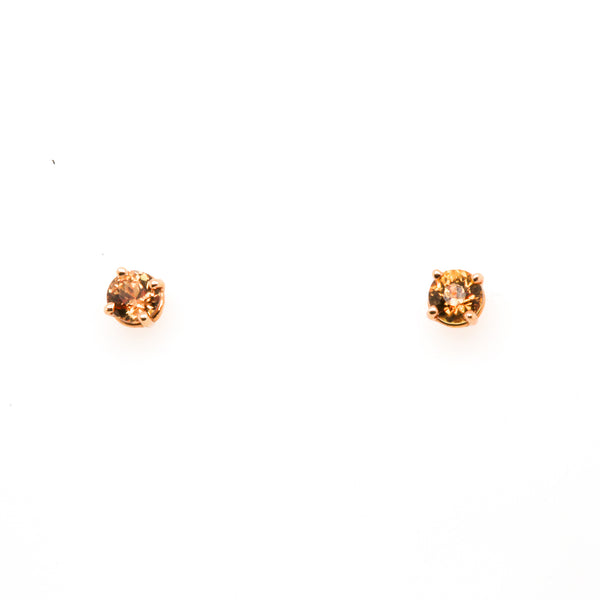 14KR Ceylon (Orange) Sapphire Stud Earrings