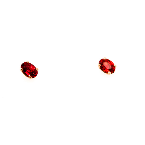 14KR Red Sapphire Stud Earrings
