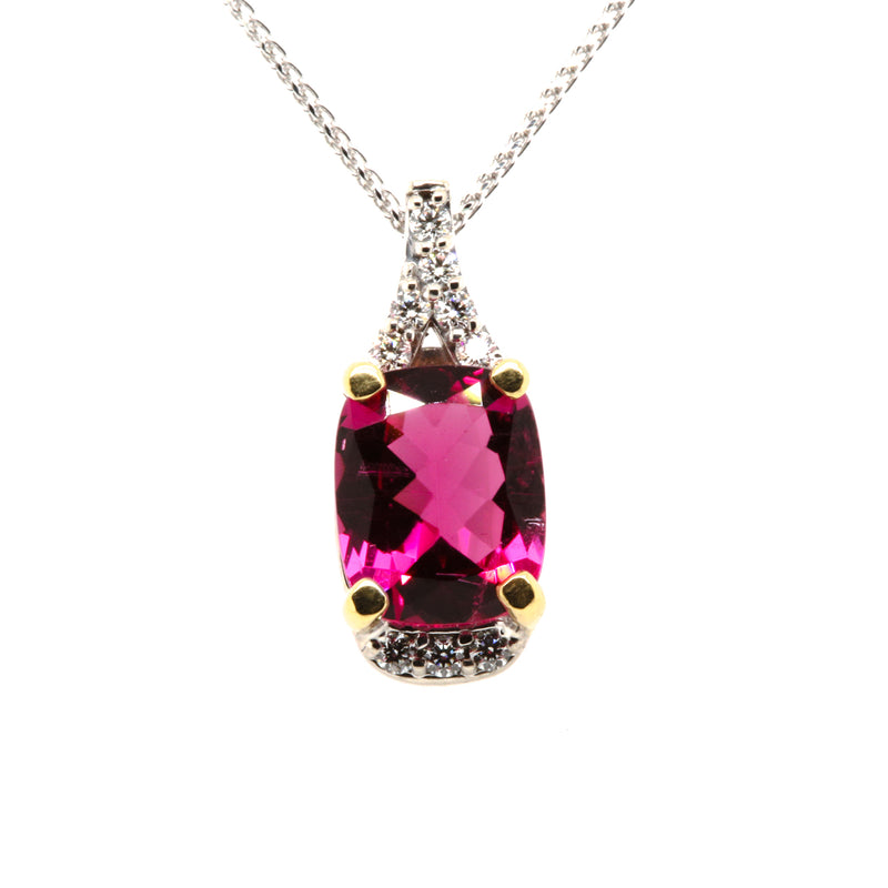 14KW / 18KY Rubelite and Diamond Pendant
