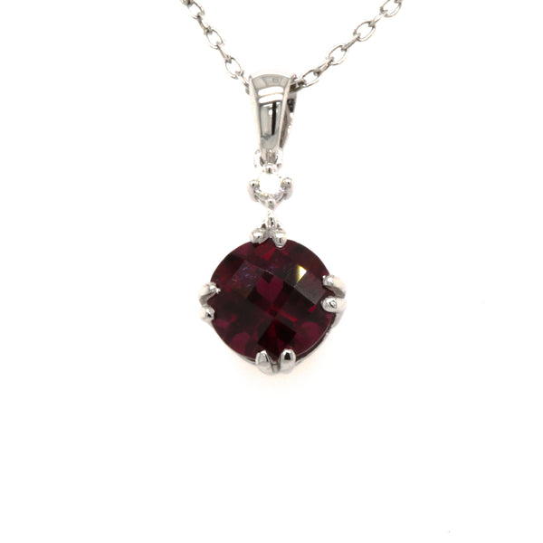 14KW Rhodolite Garnet and Diamond Pendant