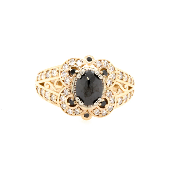 14KY Black Diamond Vintage Style Engagement Ring