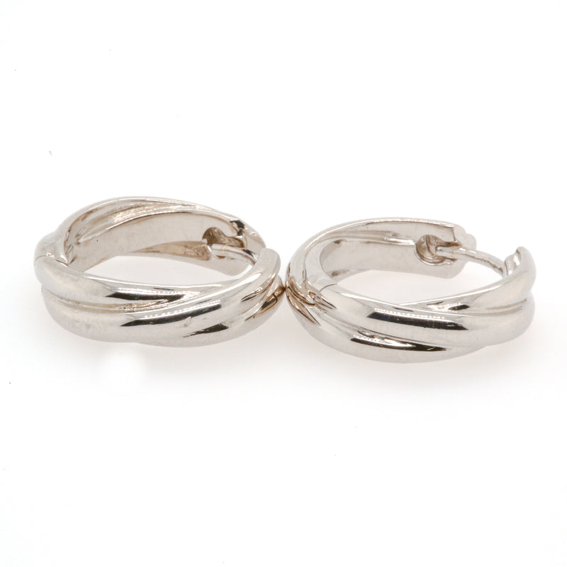 SS (Rh) Hinged Hoop Earrings