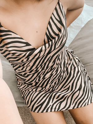 SATIN SILK ZEBRA PRINT SLIP DRESS