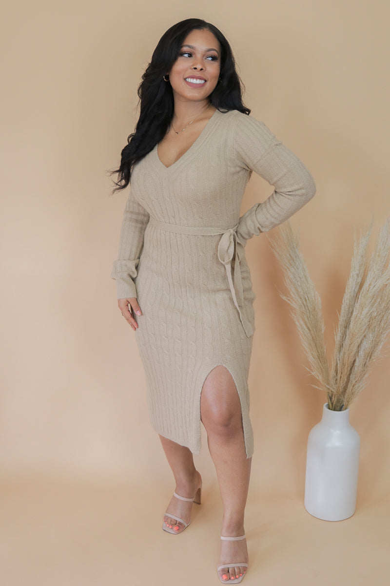 Almond Ribbed Long Sleeve Midi Dress
