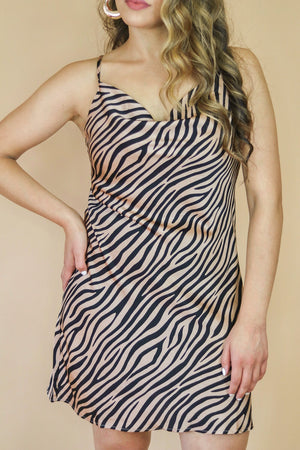 Wild One Satin Zebra Dress