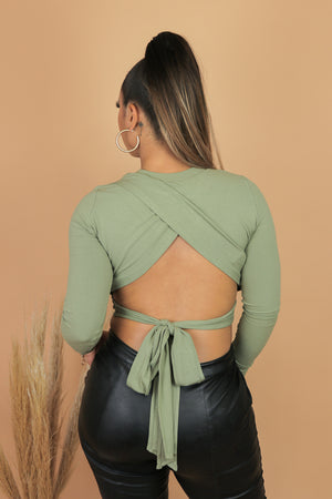 Olive You Open Back Long Sleeve Top