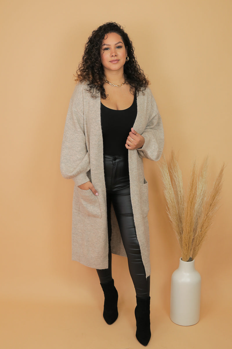 Oat Latte Long Cardigan