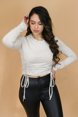 Stuck With You Ribbed Ruched Drawstring Top