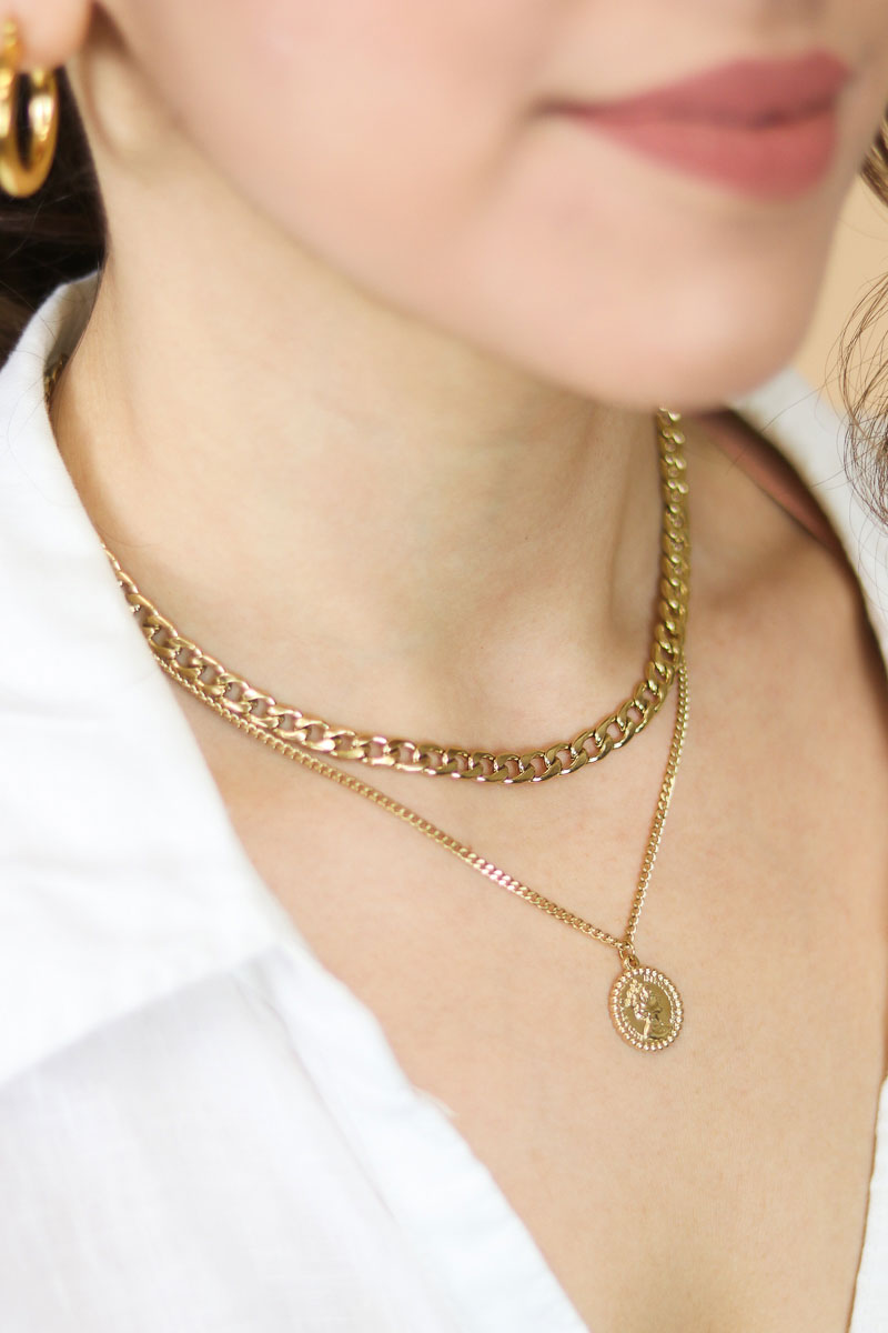 Elizabeth 14K Gold Layered Pendant Chain Necklace