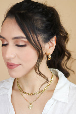Camila 18K Mini Cuban Link Hoop Earrings
