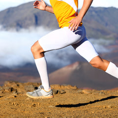 A runner wearing tight pants.