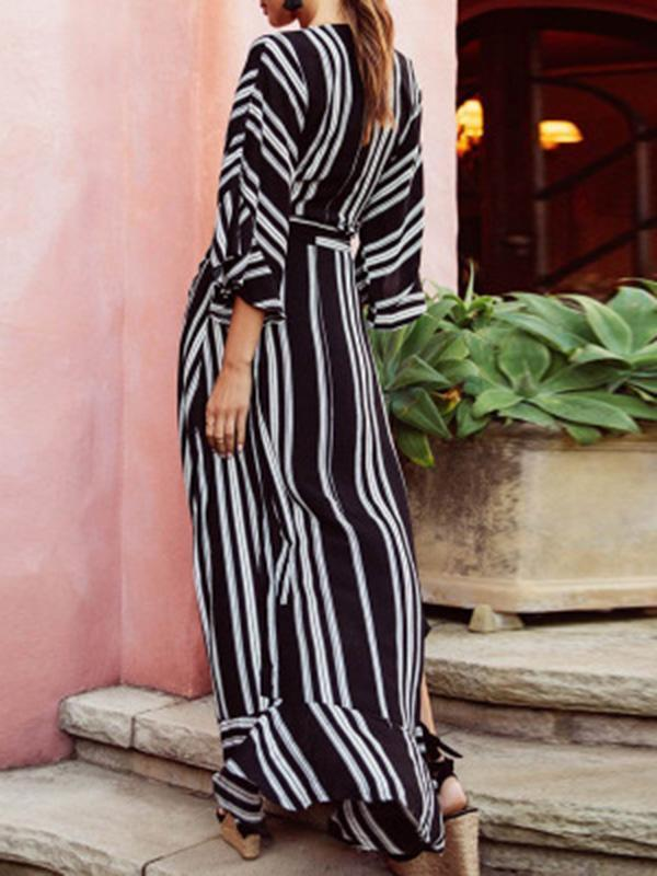 Fashion Striped Shirt and Long Skirt Dress Suits - bohosecret