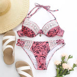 Pink Lace Up Bohemian Bikini Suits - bohosecret
