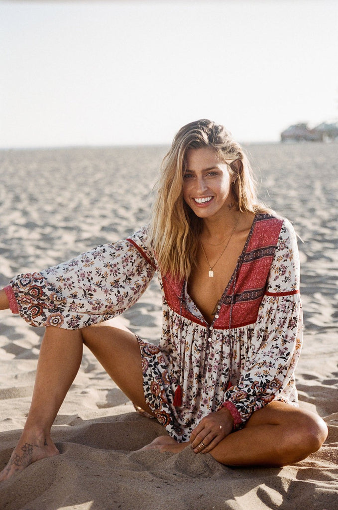 Beach Deep V-neck Long-sleeved Boho Dress - bohosecret