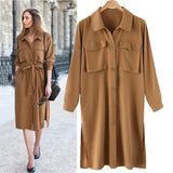 Caramel Loose Long Sleeve Casual Midi Dress - bohosecret