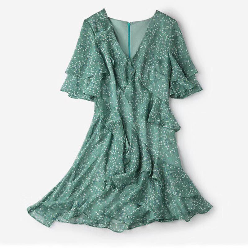 Chiffon Ruffled Print Lotus Leaf Waist V-neck Short-sleeved Dress - bohosecret