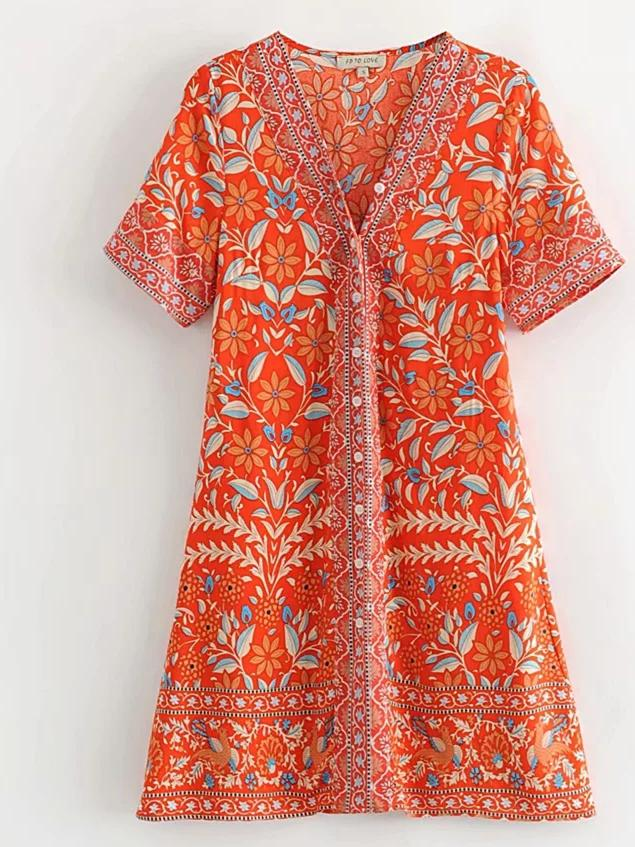 Printed Orange Boho Mini Dress - bohosecret
