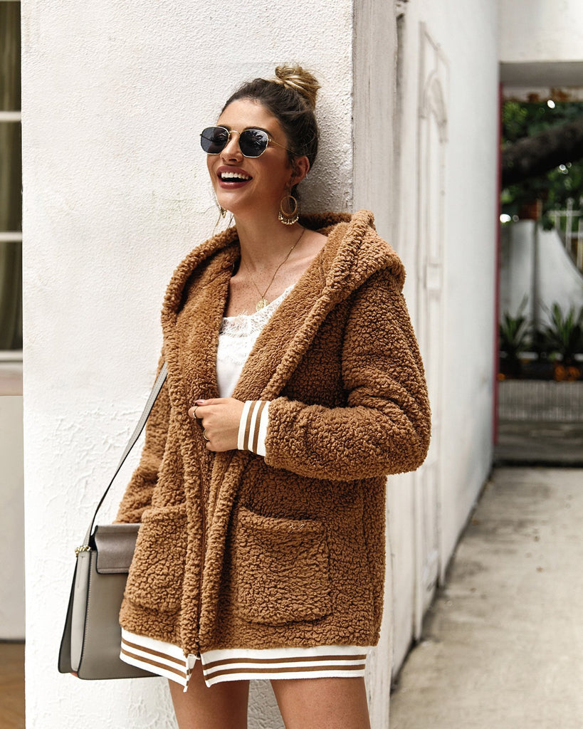 Khaki Autumn Hooded Fuzzy Sweaters cardigan - bohosecret