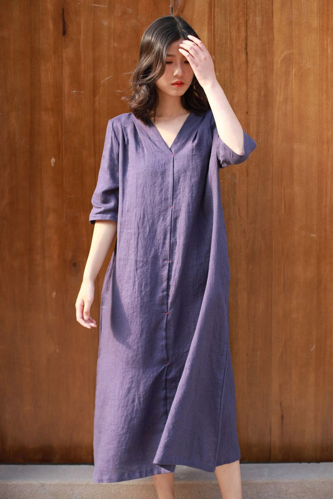 Linen V-neck lace-up Vintage Retro Head-length Midi Dress - bohosecret