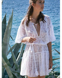 Sexy Deep V Neck Lace White Solid Color Cover Ups - bohosecret