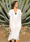 White Solid Color Loose Boho Cover Ups - bohosecret