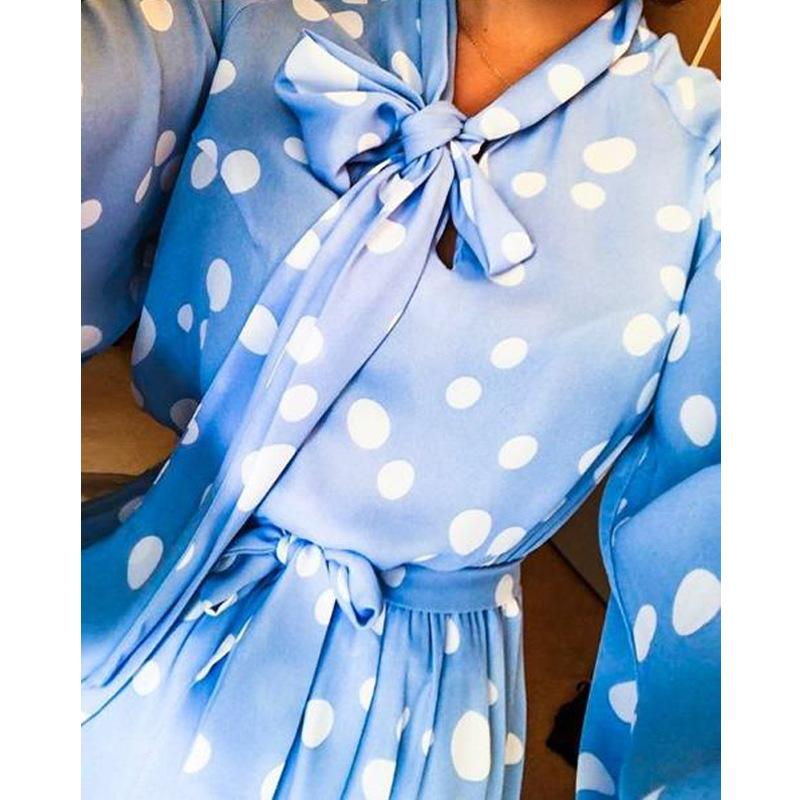 Polka Dots Blue Long Sleeve Mini Dress - bohosecret