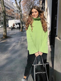 Solid Color basic Loose High Collar Lazy Wind Sweater - Green - bohosecret