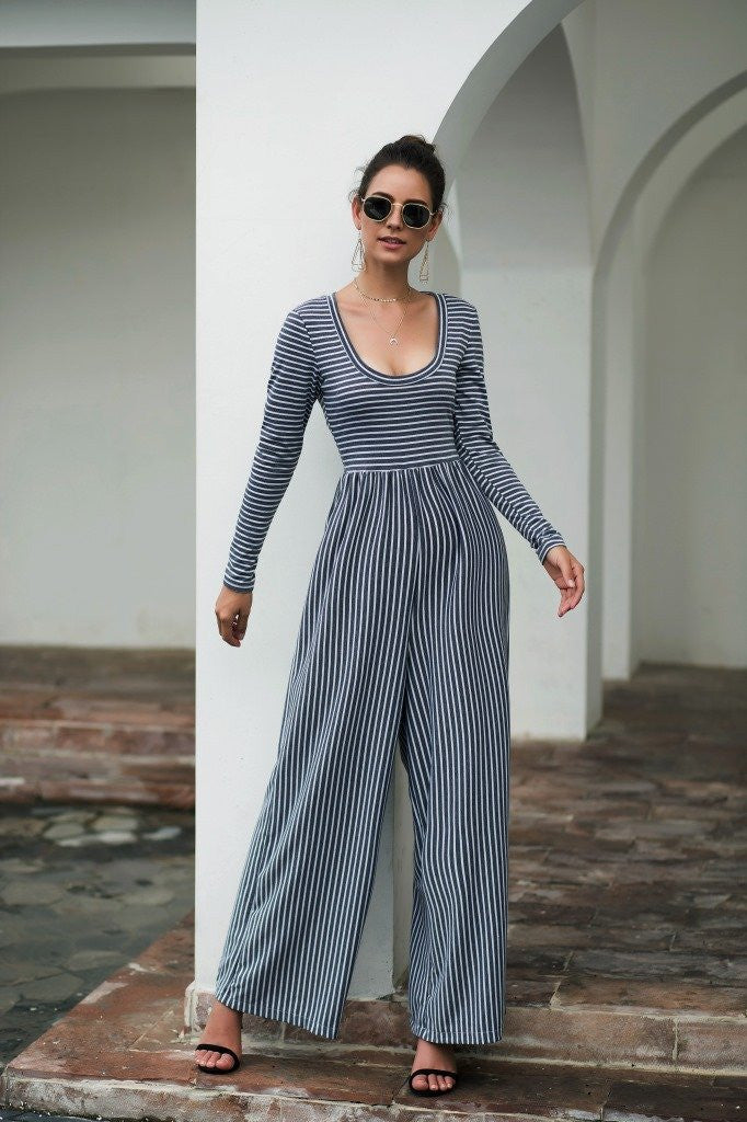 Explosive Models U-neck Sexy Wide-Leg Striped Jumpsuit - Grey - bohosecret